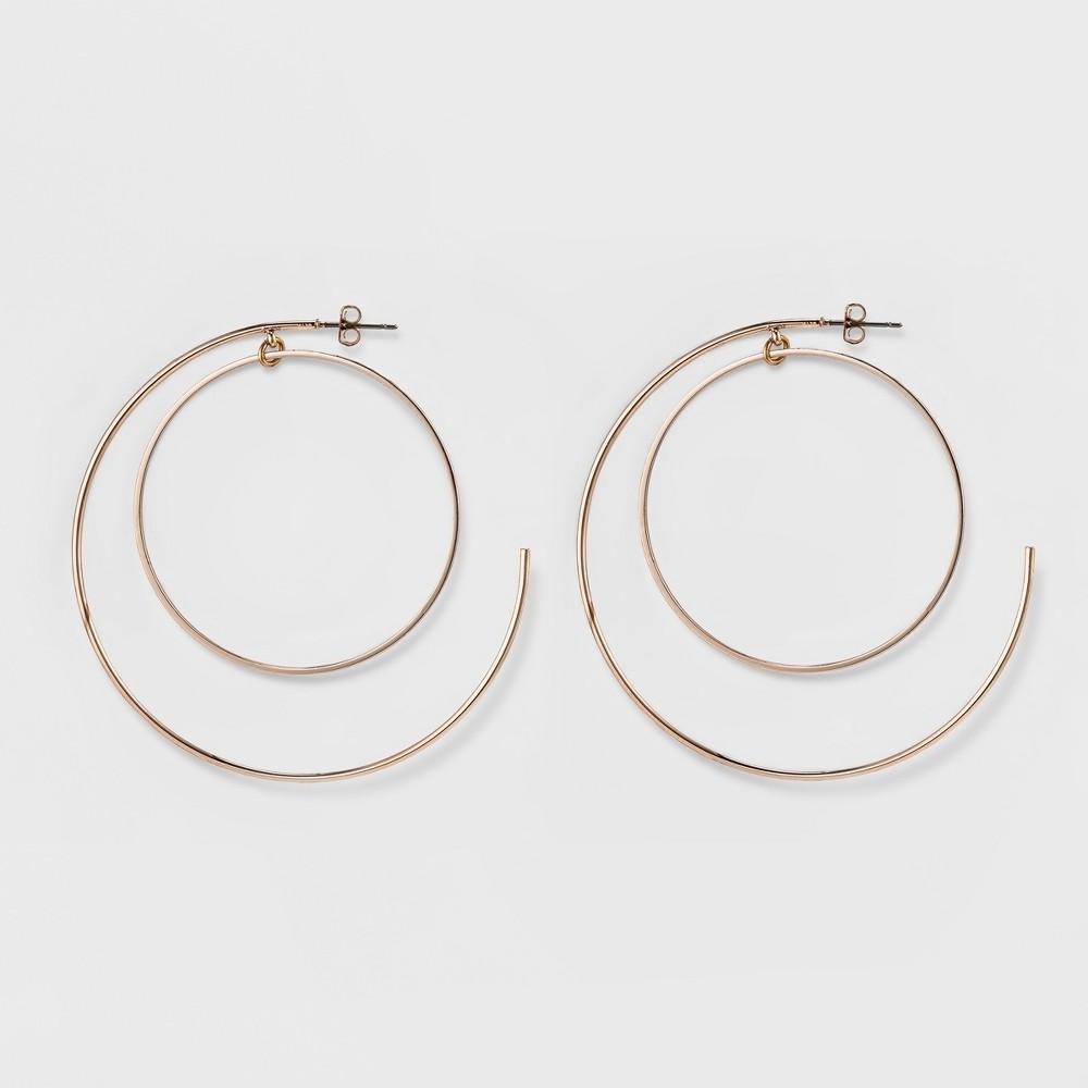 Womens Thin Metal Circle Earring - Rose Gold