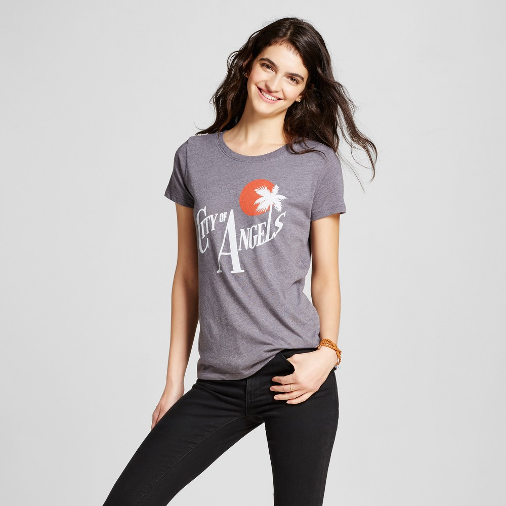 Womens Los Angeles City of Angels T-Shirt L - Charcoal Gray (Juniors)
