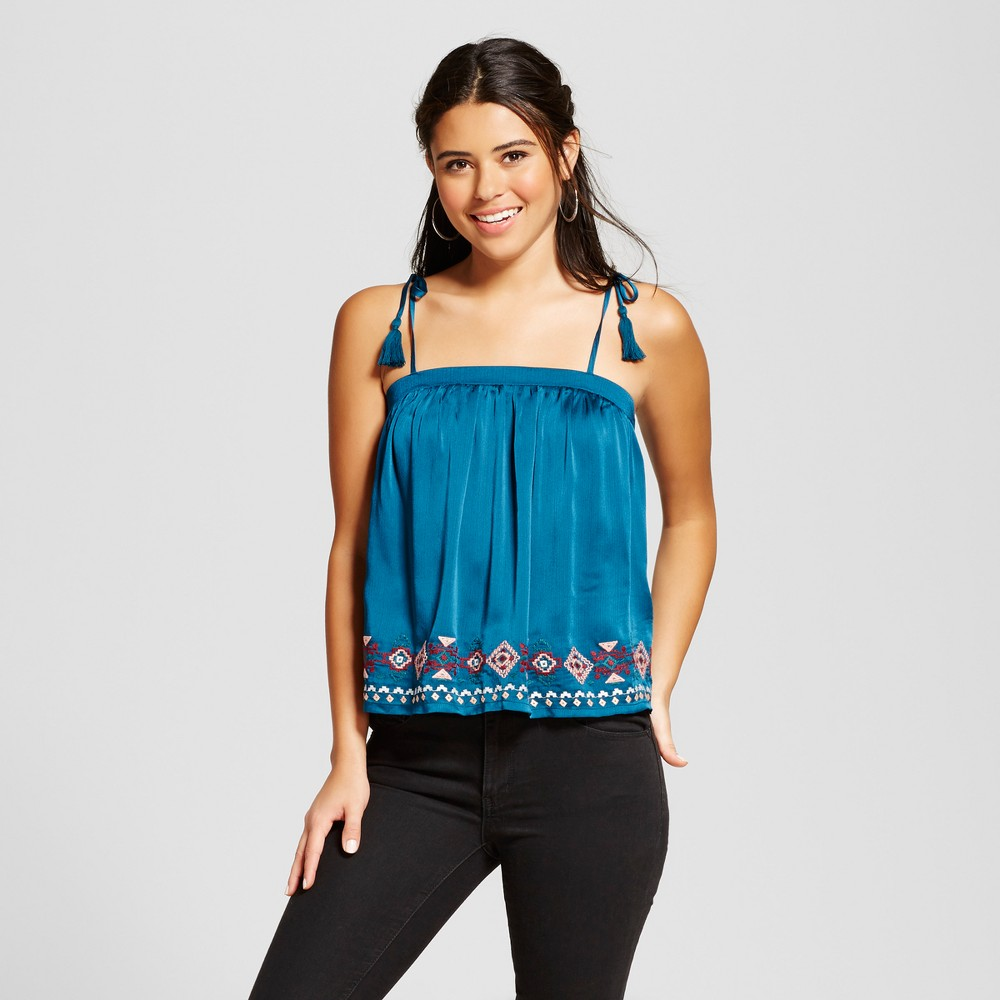 Womens Embroidered Satin Tank Top - Xhilaration (Juniors) Teal XS, Blue
