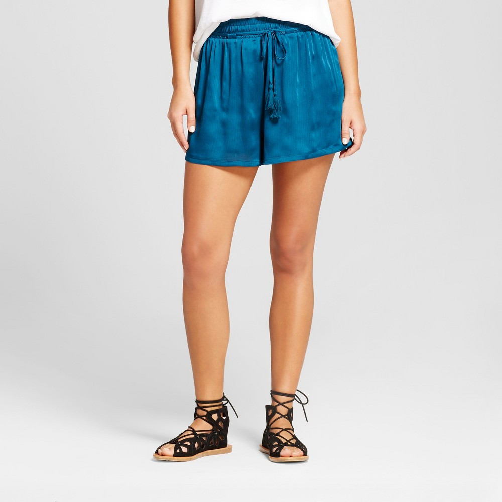 Womens Satin Soft Shorts - Xhilaration (Juniors) Teal S, Blue