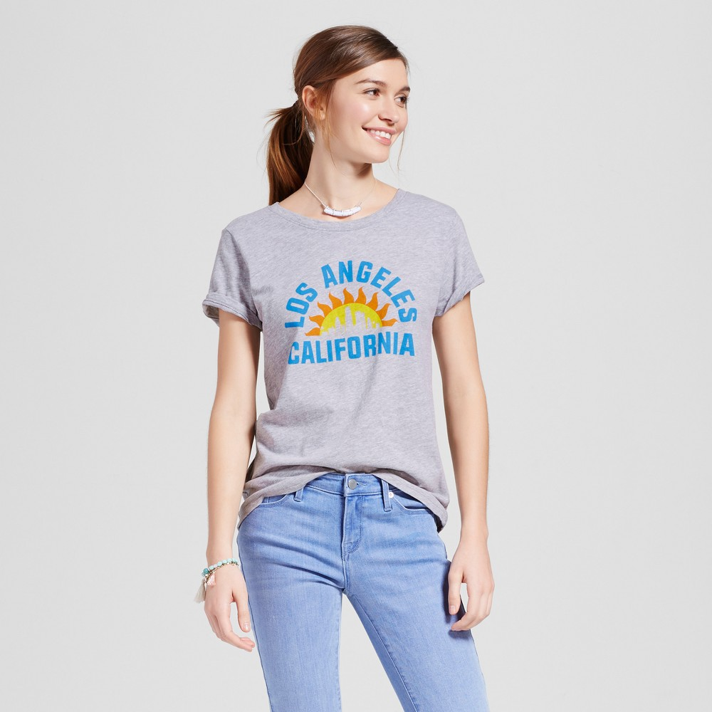 Womens Los Angeles City Rays T-Shirt XS - Heather Gray (Juniors)