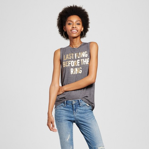 Women's Last Fling Before The Ring Bridal Foil Graphic Tank Charcoal Gray - Modern Lux - image 1 of 2
