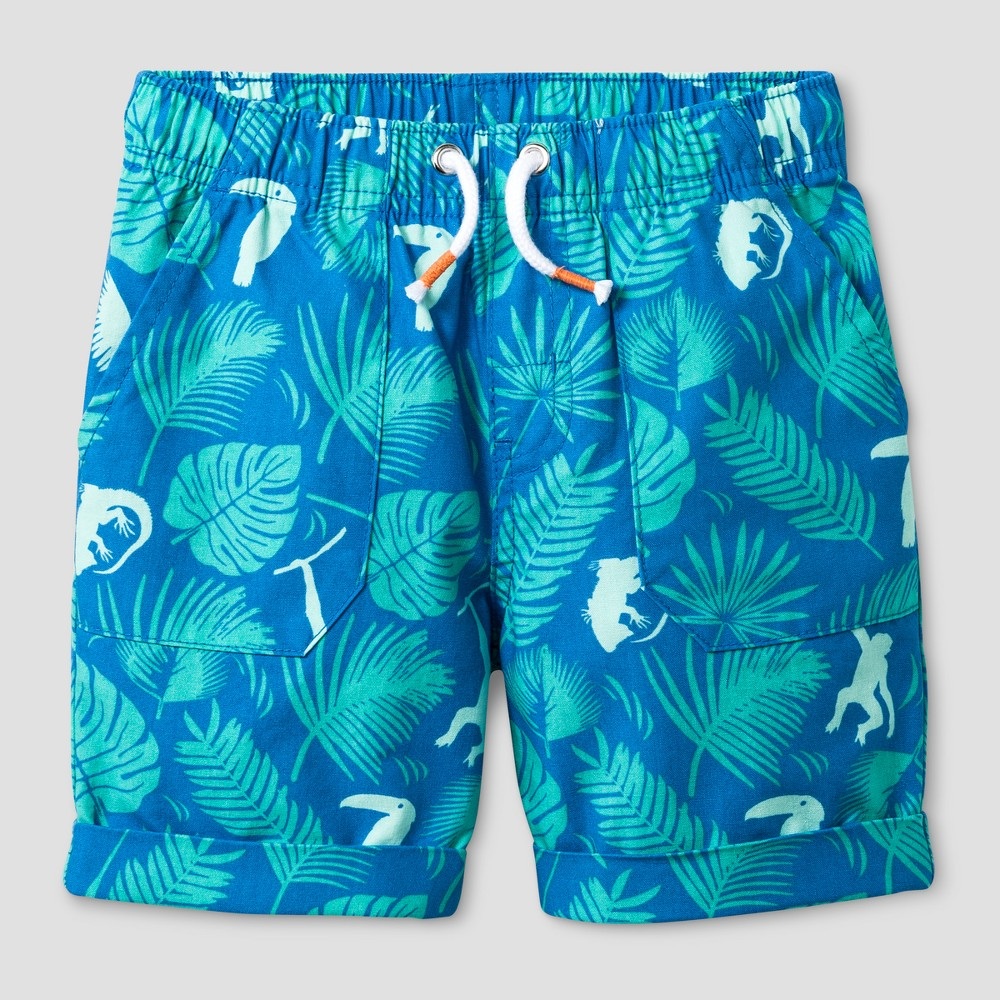 Toddler Boys Tropical Print Pull-on Shorts Bluebell 5T - Cat & Jack, Blue
