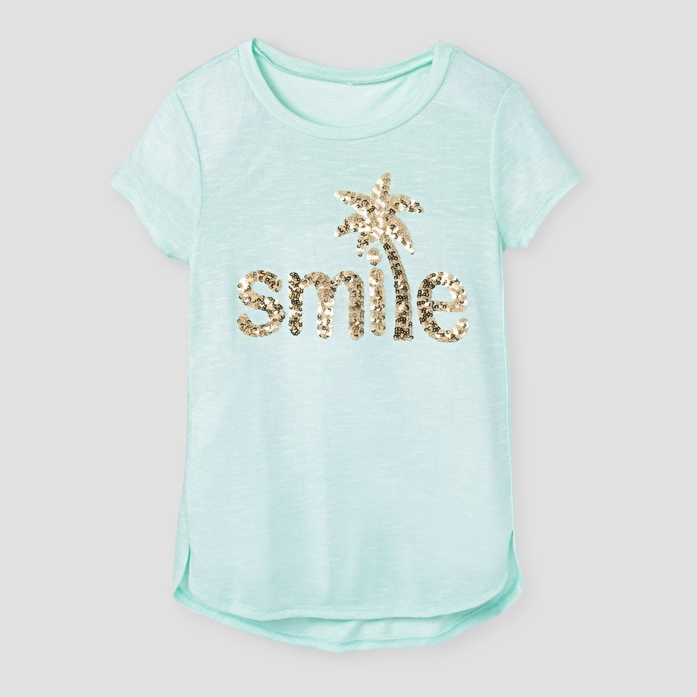 Girls' Miss Chievous High Low Shirttail Top with Sequin Smile Applique – Brook Green XL, Girl's, Size: XL(14-16)