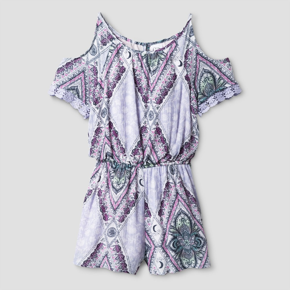 Girls Cold Shoulder Rompers - Art Class Sterling Blue XS, Size: XS (4-5)