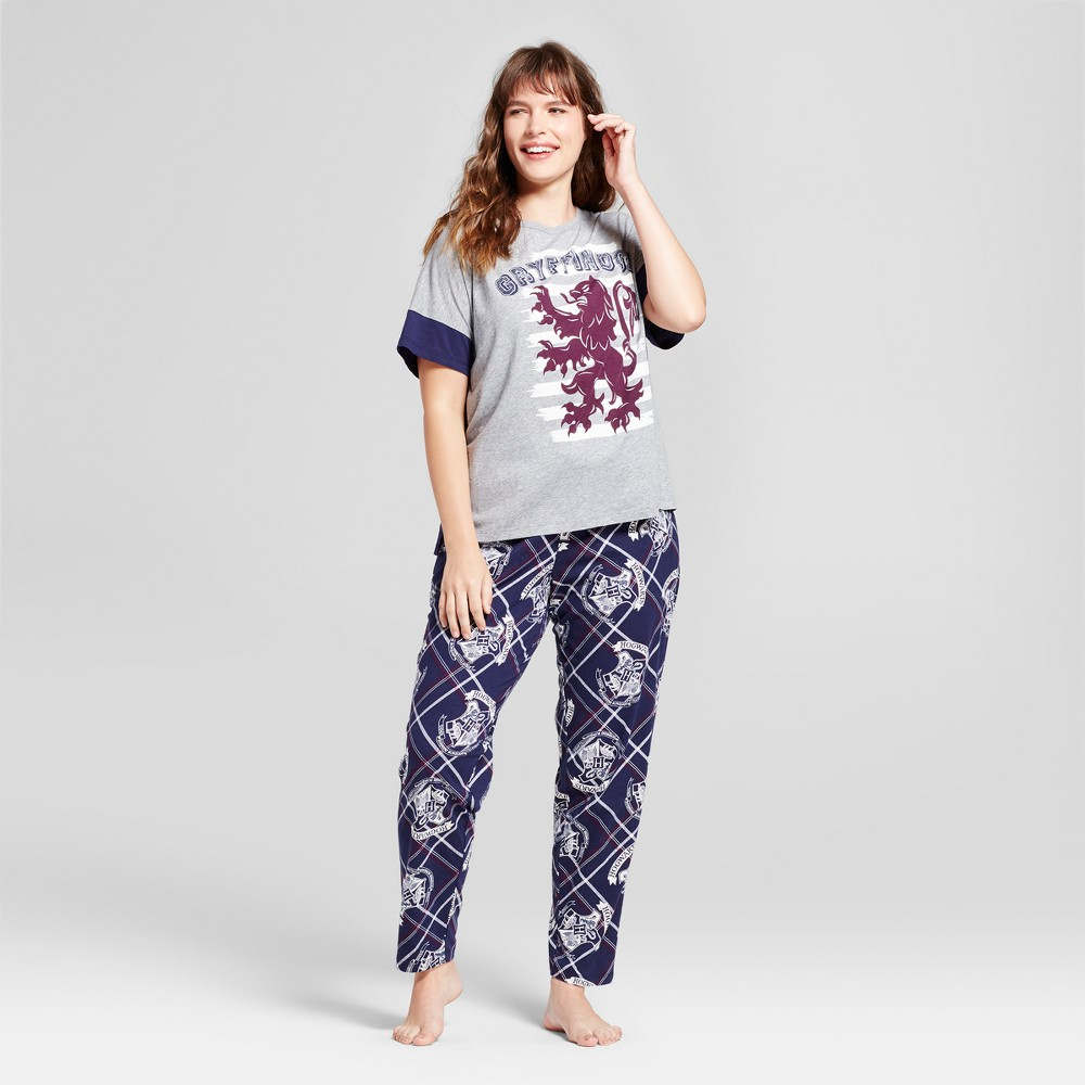 Womens Plus Size Pajama Harry Potter T-Shirt/Leggings Set - Heather Gray/Navy 2X, Blue Gray