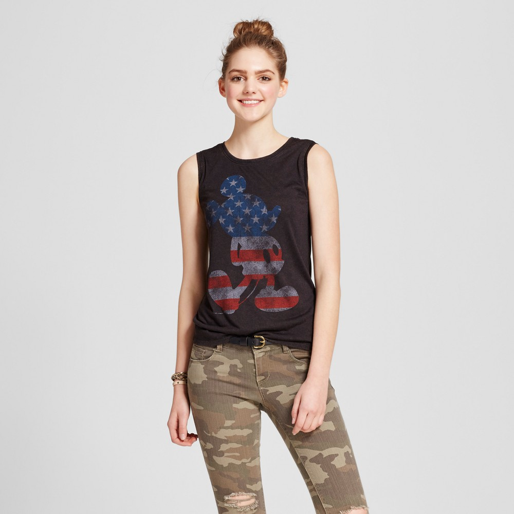 Womens Mickey Mouse Flag Americana Tank Charcoal Gray L (Juniors)
