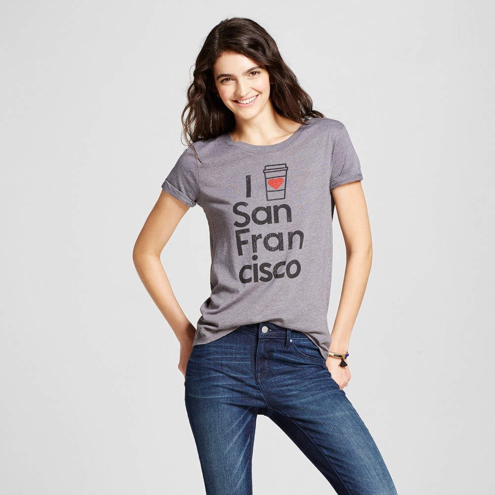 Womens San Francisco Latte T-Shirt Xxl - Charcoal Gray (Juniors)