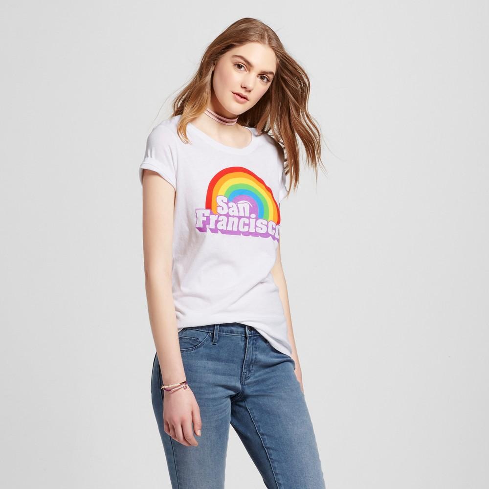 Womens San Francisco Rainbow T-Shirt S - White (Juniors)