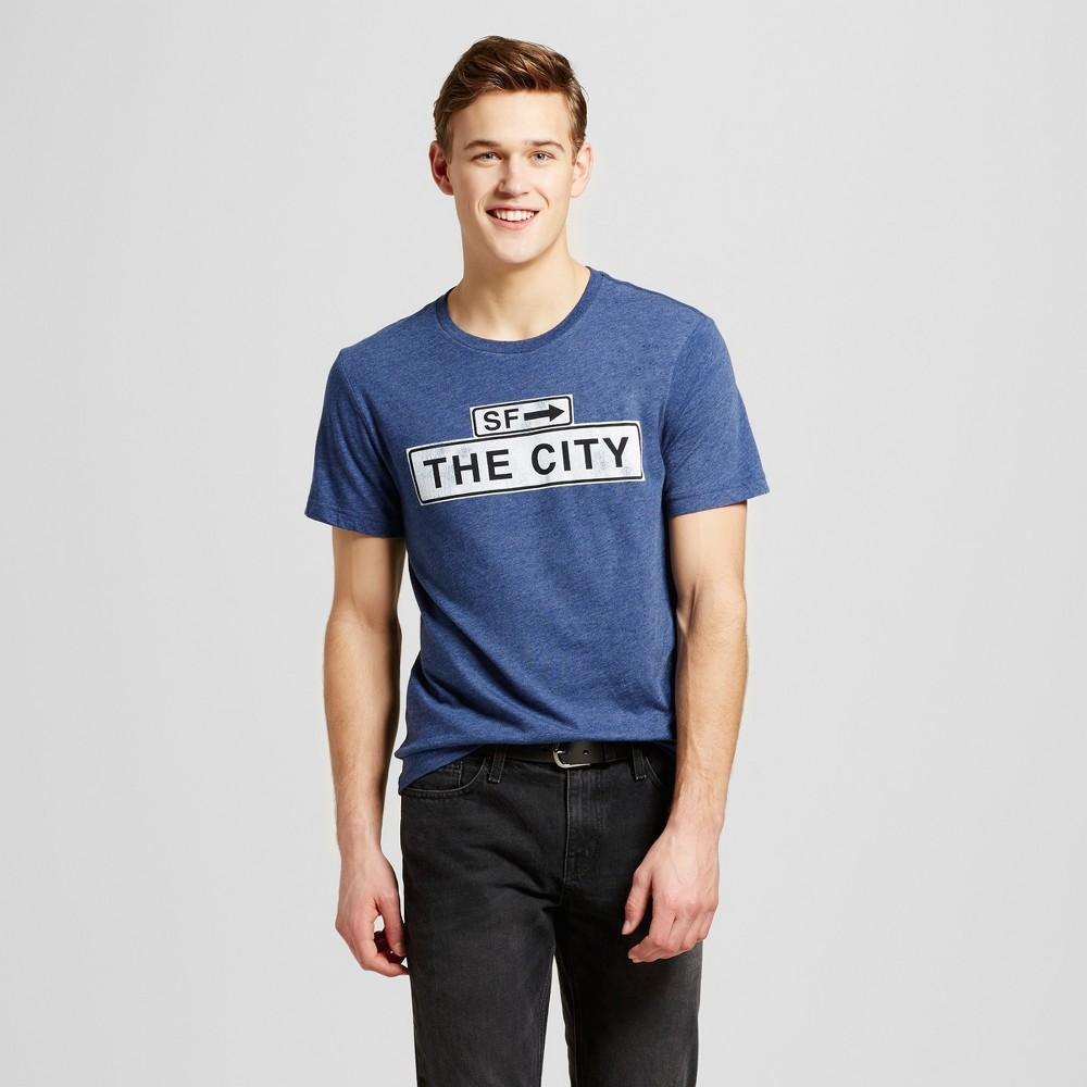 Mens San Francisco City Sign T-Shirt M - Navy, Blue
