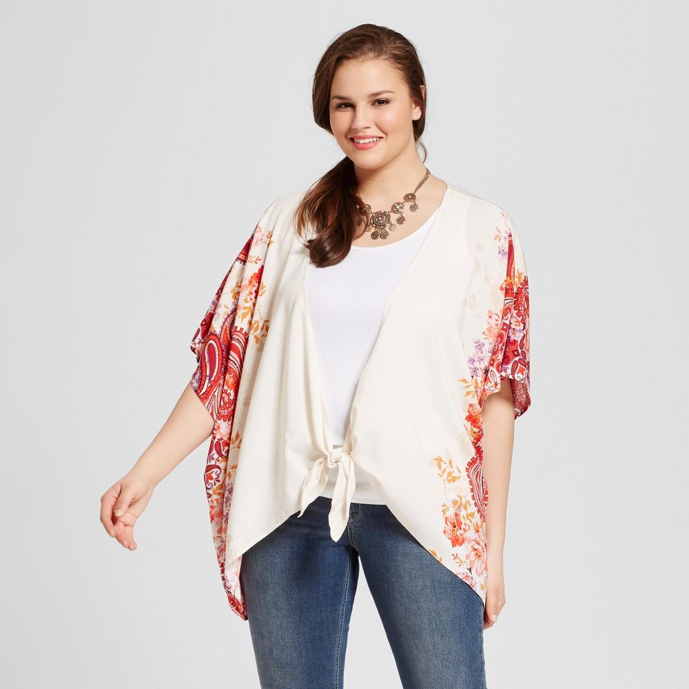 Women's Plus Size Floral Print Open Front Tie Kimono Blouses Off White 3X – Born Famous