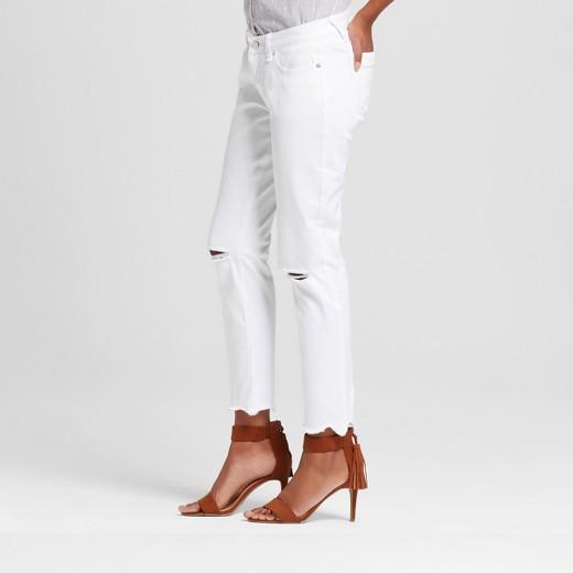 Women's Curvy Raw Edge Slit Knee Crop Skinny Jeans White 32 ...