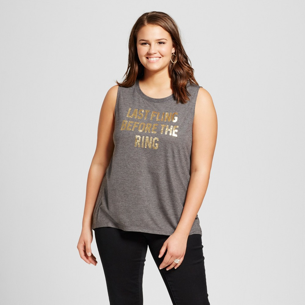 Womens Plus Size Last Fling Before The Ring Bridal Foil Graphic Tank Charcoal Gray - Modern Lux, Size: 3XL