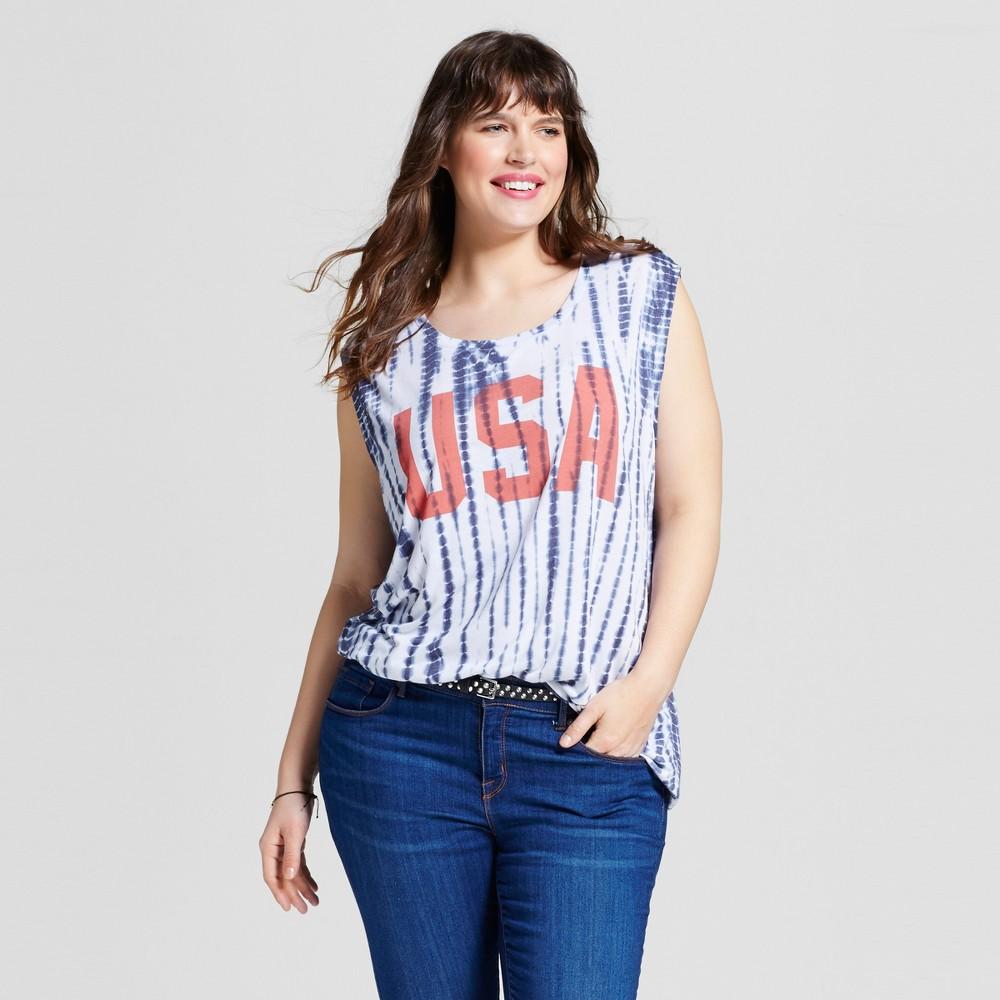 Womens Plus Size Tie Dye USA Americana Tank Blue 1X - Zoe+Liv