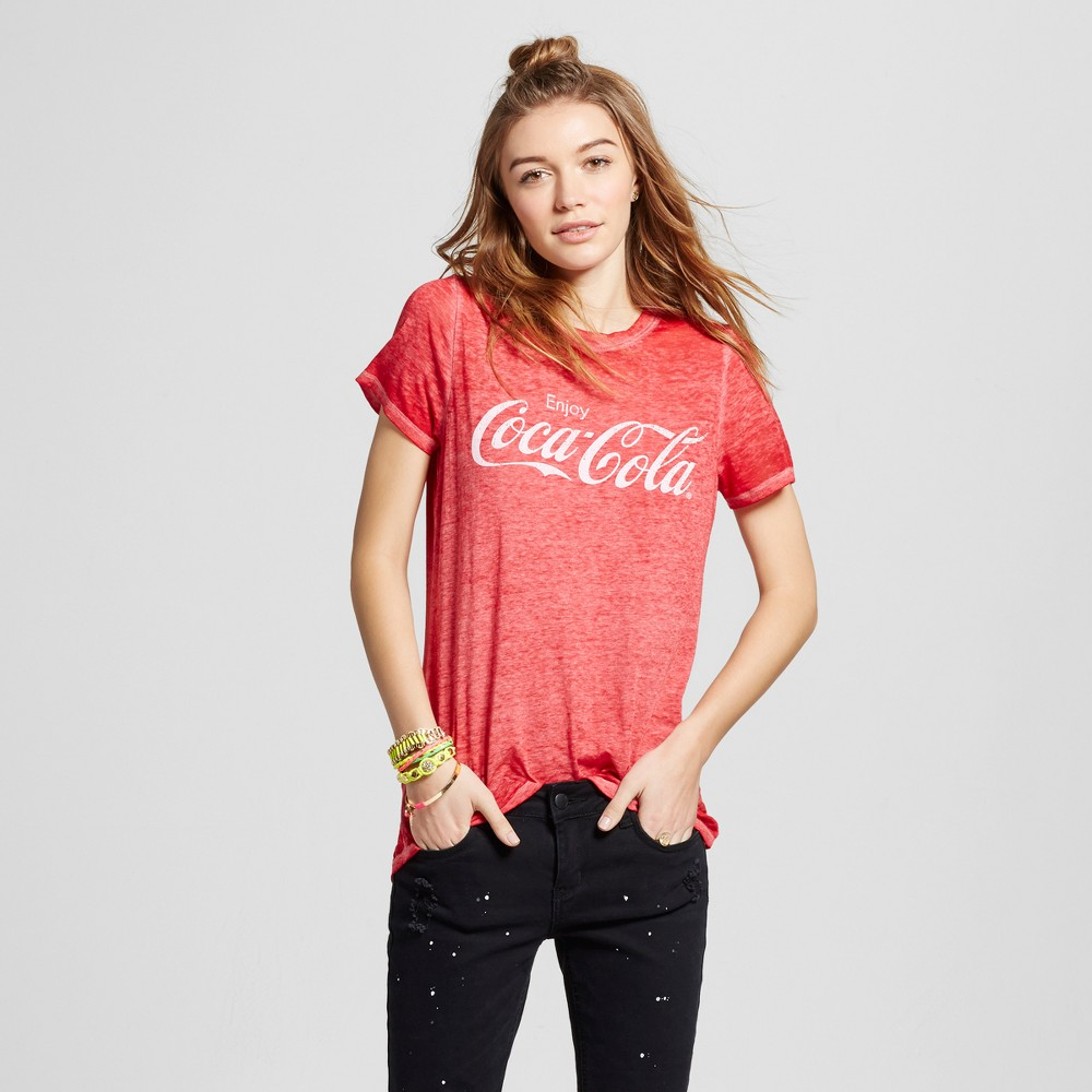 Womens Coca-Cola Graphic T-Shirt (Juniors) - Red XL