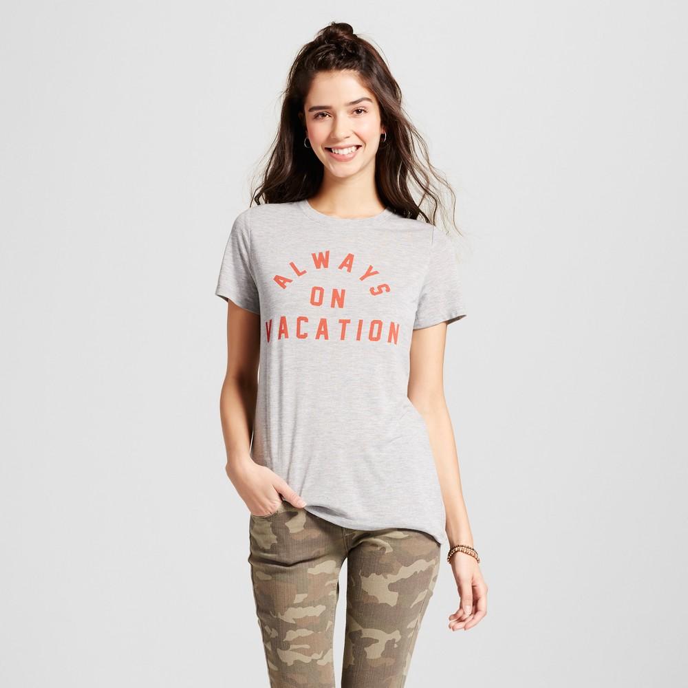 Womens Always On Vacation Graphic T-Shirt Heather Gray XS - Zoe+Liv (Juniors)