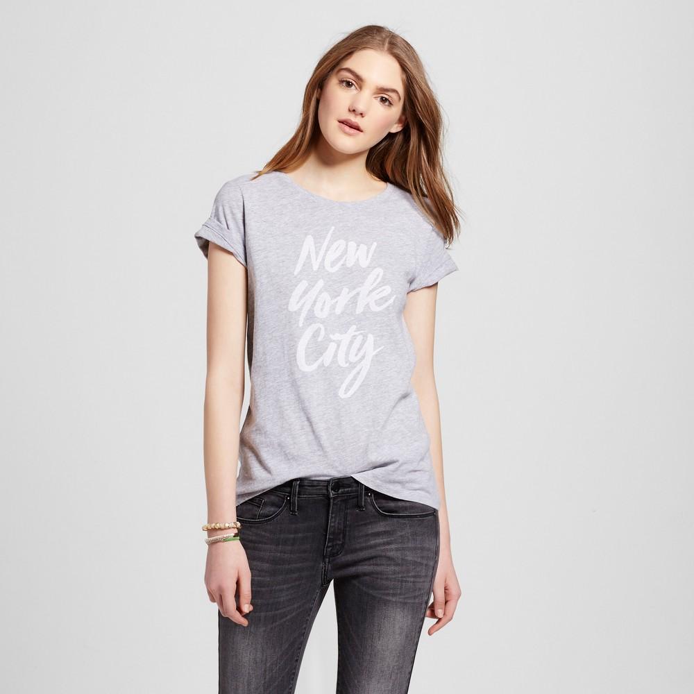 Womens New York Nyc Script T-Shirt L - Heather Gray (Juniors)