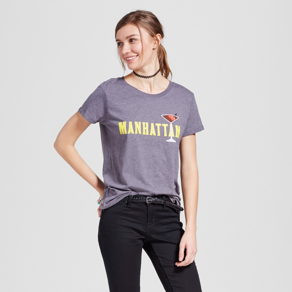 Womens New York Manhattan T-Shirt M - Charcoal Gray (Juniors)