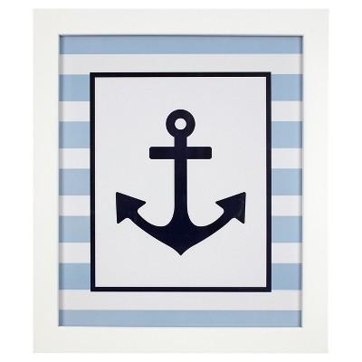 Light Blue/White/Navy-Hampton - Nautical Anchor Framed Wall Art