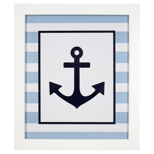 Anchor Wall Art light blue/white/navy-hampton - nautical anchor framed wall art