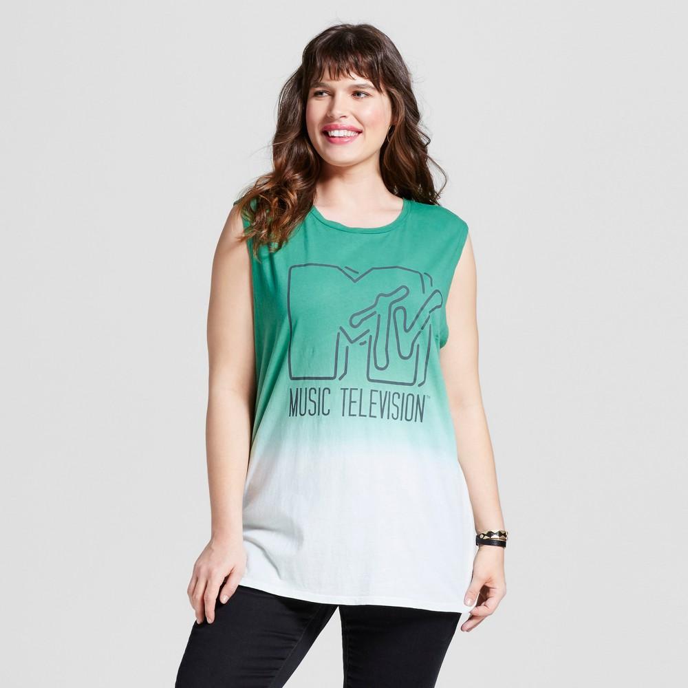 Womens Plus Size Mtv Muscle Tank - Green 1X