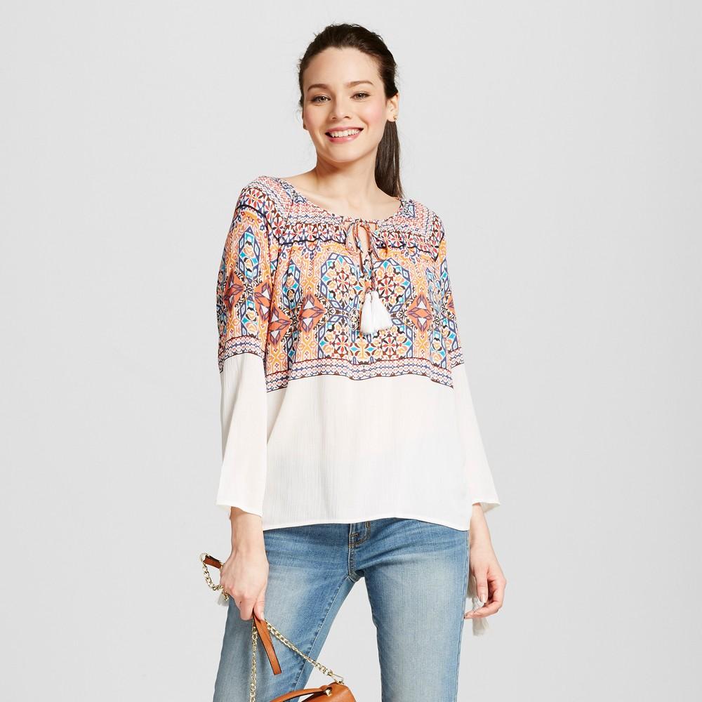 Women's Printed Blouse with Side Cinching – Ivory/Orange XL – JohnPaulRichard