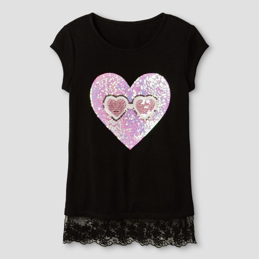 Miss Chievous Girls Short Sleeve Tank with Lace Trim & Sequin I Scream Applique - Black M, Size: M(10-12)
