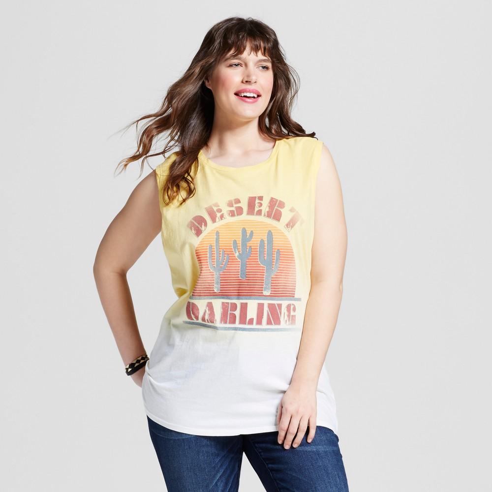 Womens Plus Size Desert Darling Muscle Tank - Freeze Yellow 3X, Size: 2XL, Orange