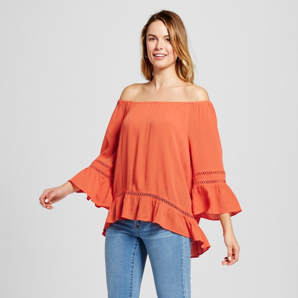 Women's Off-the-Shoulder Peasant Blouse with Flutter Sleeve – Coral S – JohnPaulRichard, Orange