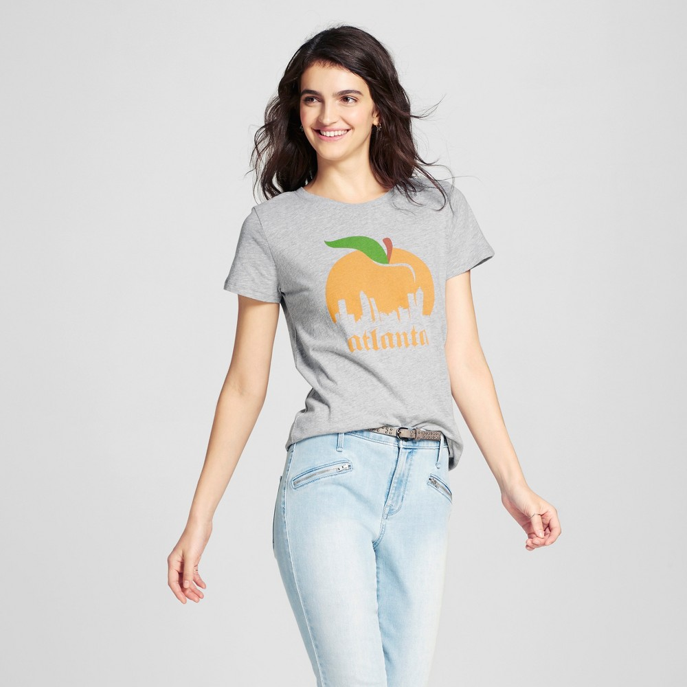 Womens Atlanta Atl Peach T-Shirt S - Heather Gray (Juniors)