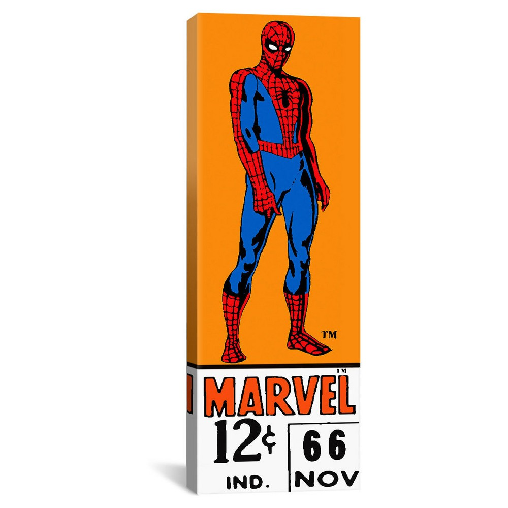 "Comics (Retro) - Book Spider-Man Price Tag Panoramic by Marvel Comics Canvas Print (48""""x 16""""), Blue Red Black Orange"