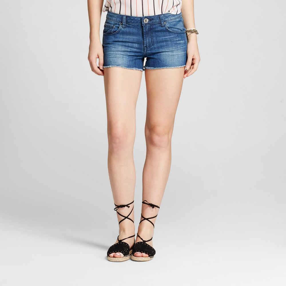 Womens Destroyed Cut Off Jean Shorts Dark - S&p by Standards and Practices Blue 31