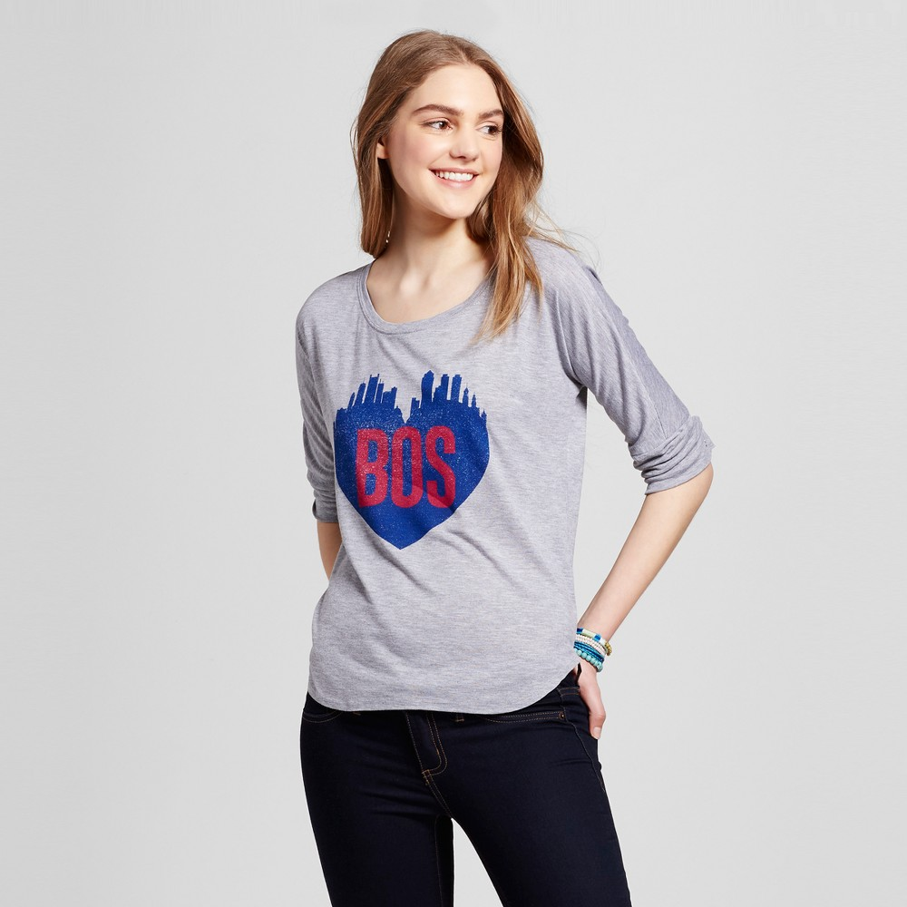 Womens Boston Skyline Heart Top M - Heather Gray (Juniors)