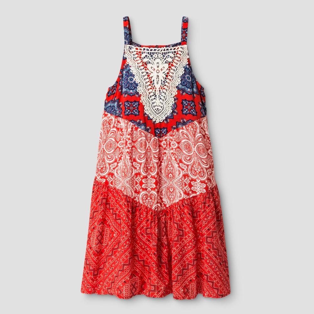 Girls Tiered A Line Dress - Art Class Hibiscus XS, Size: XS (4-5), Pink