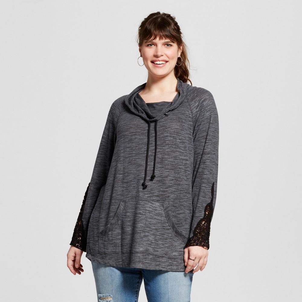 Women's Plus Size Cowl Neck Sweatshirt Grey 1X – Miss Chievous, Gray