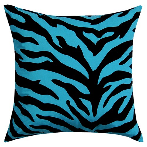 'Blue Zebra Print Square Throw Pillow (18''x18'') - Karin Maki'