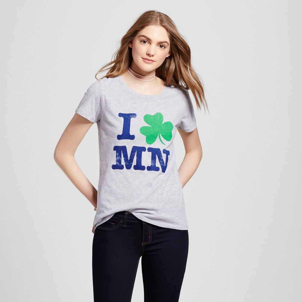 Womens Minneapolis MN Shamrock T-Shirt L - Heather Gray (Juniors)