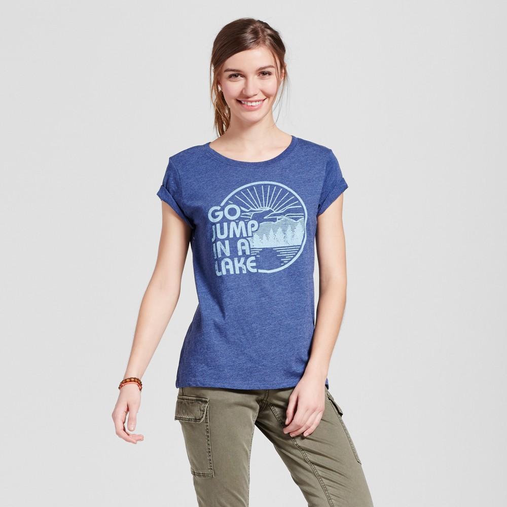 Womens Minneapolis Lake Jump T-Shirt L - Navy (Juniors), Blue