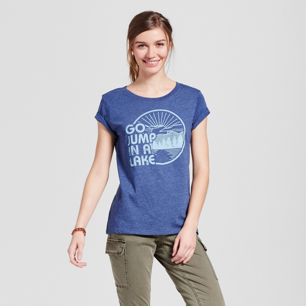 Womens Minneapolis Lake Jump T-Shirt XS - Navy (Juniors), Blue