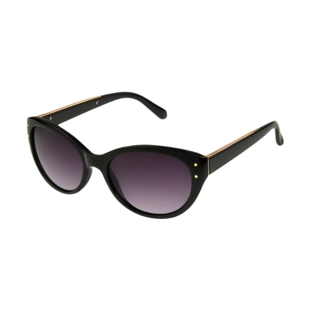 Womens Cateye Sunglasses with Smoke Lenses - Black