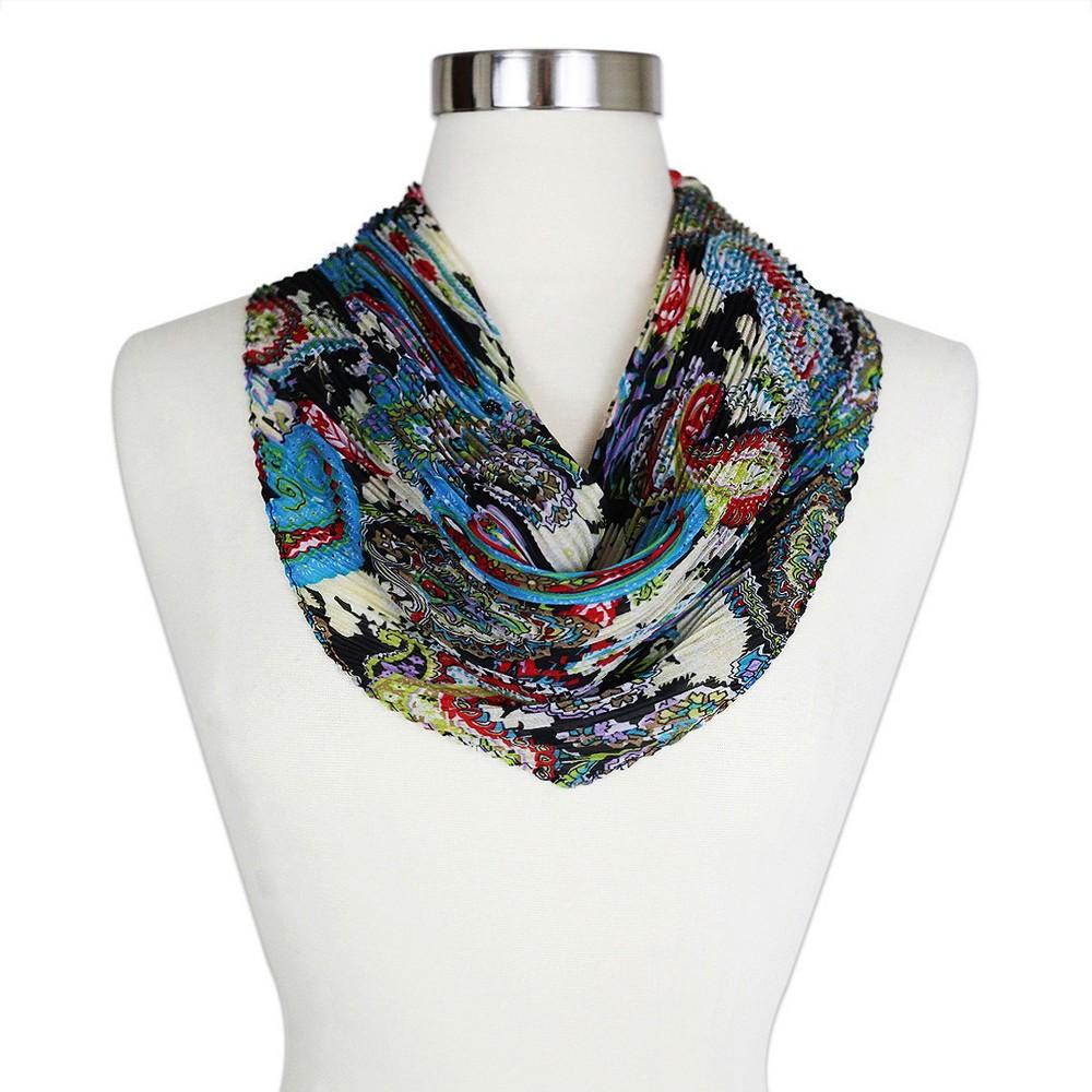 Sylvia Alexander Womens Paisley Print Crinkle Neckerchief Scarf - Black