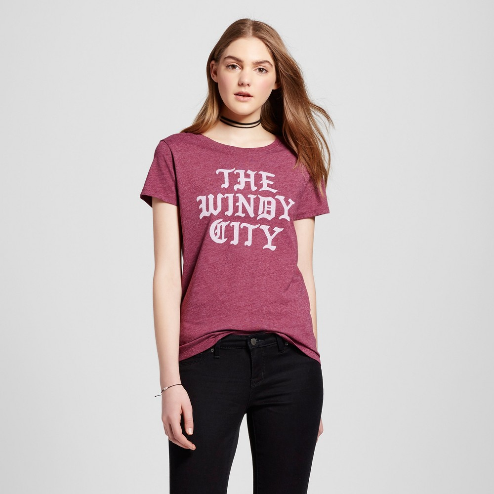 Womens Chicago Windy City T-Shirt S - Burgundy (Juniors), Purple