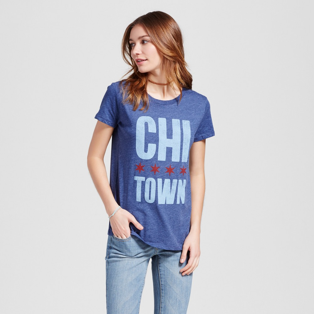 Womens Chicago Town T-Shirt L - Navy (Juniors), Blue