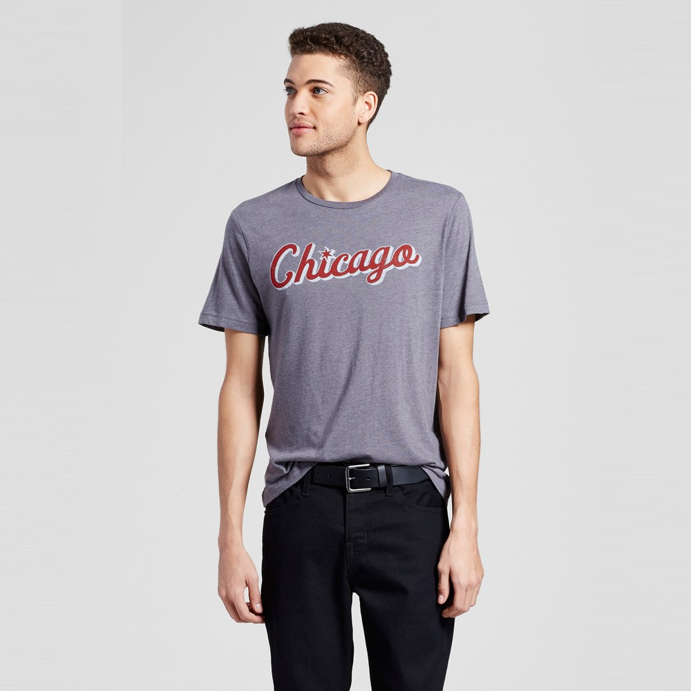 Mens Chicago Star Script T-Shirt S - Charcoal Gray