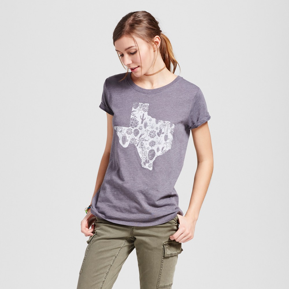 Womens Texas Pattern T-Shirt XL - Charcoal Gray (Juniors)