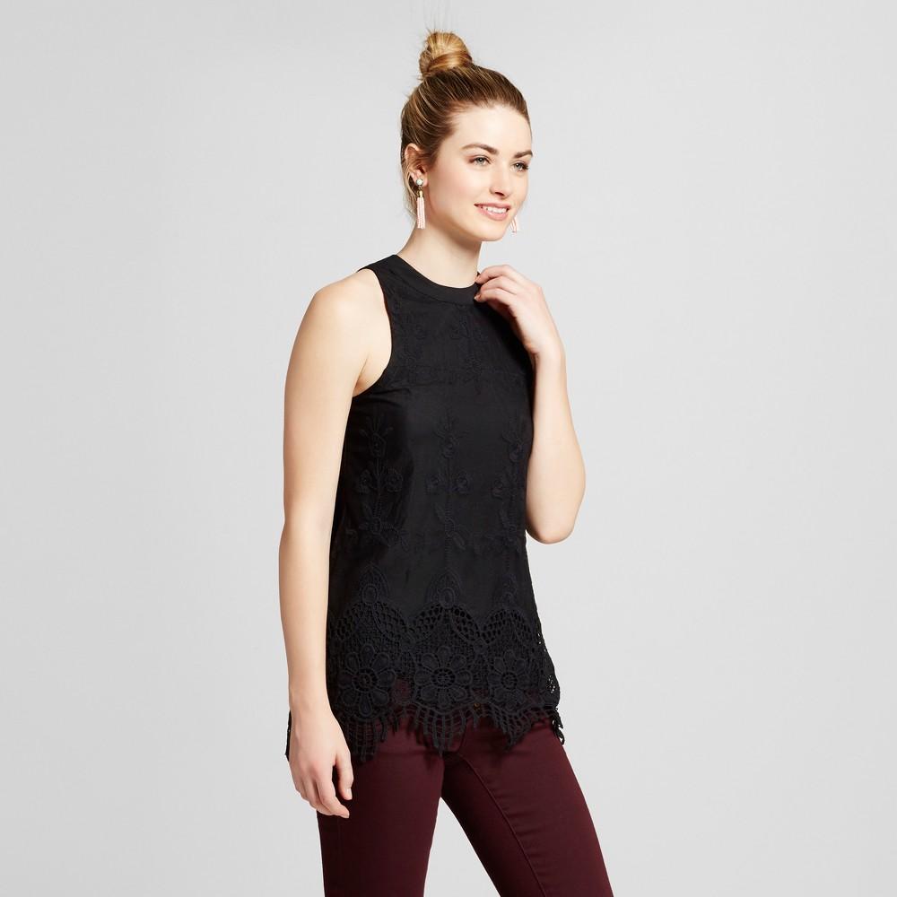 Women's Scallop Lace Mock Neck Top Black M – 3Hearts (Juniors')