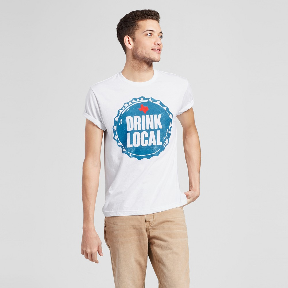 Mens Texas Drink Local T-Shirt XL - White