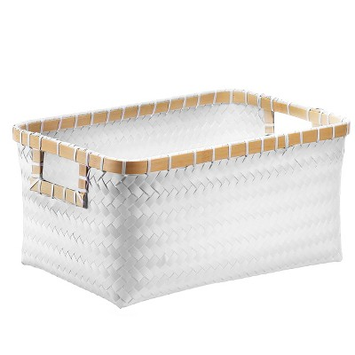 Small Rectangle Woven Bin - White with Wood - Room Essentials™