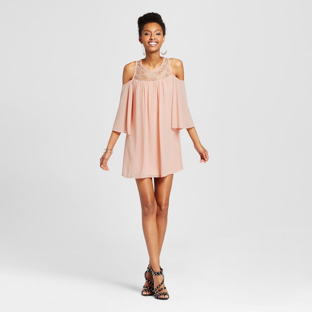 Women's Cold Shoulder Crochet Dress Pink L – 3Hearts (Juniors')