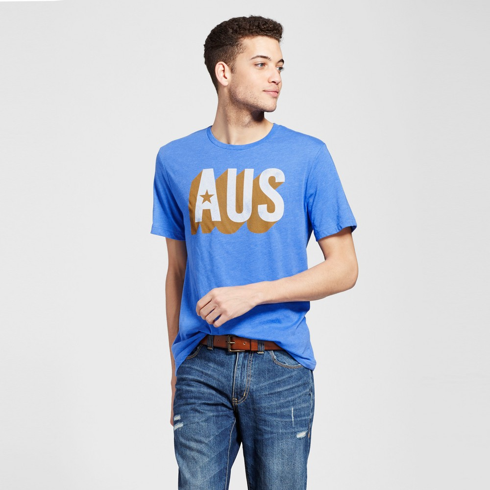 Mens Texas Aus T-Shirt L - Blue